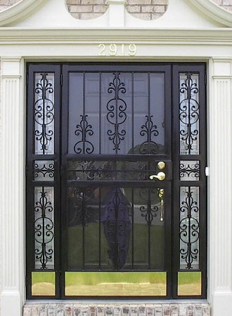 Simplicity II Security Storm Door with sidelites and optional brass kick plate & Iron Security Doors and Patio Gates/doors custom made in Maryland ...